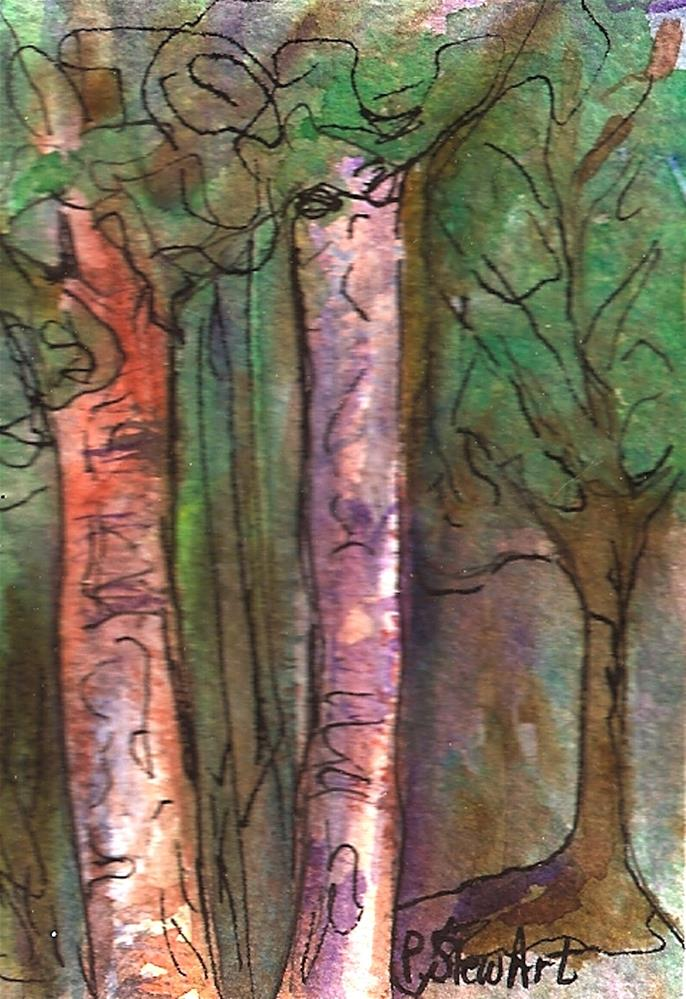 """ACEO Birch Trees in the Forest Watercolor and Pen, Illustration, Original"" original fine art by Penny Lee StewArt"
