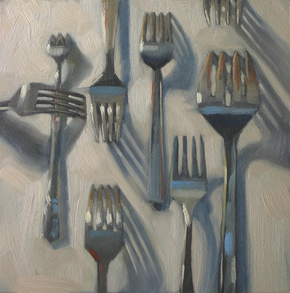 """Nothin but forks 6x6 oil"" original fine art by Claudia Hammer"