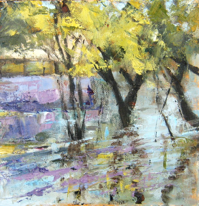 """""""Trees in the Water"""" original fine art by Connie Snipes"""