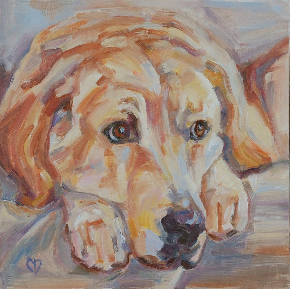 """""""Puppy Dog Eyes"""" original fine art by Carol DeMumbrum"""