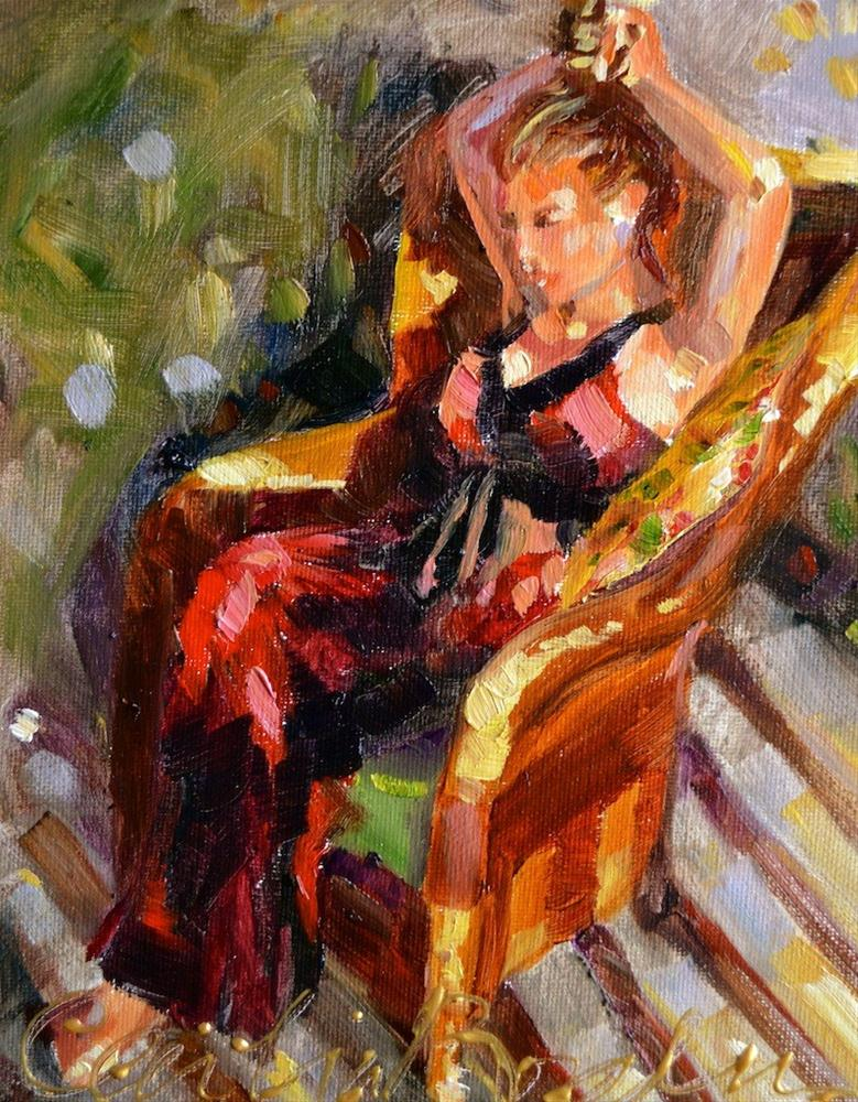 """""""On the balcony"""" original fine art by Cecilia Rosslee"""