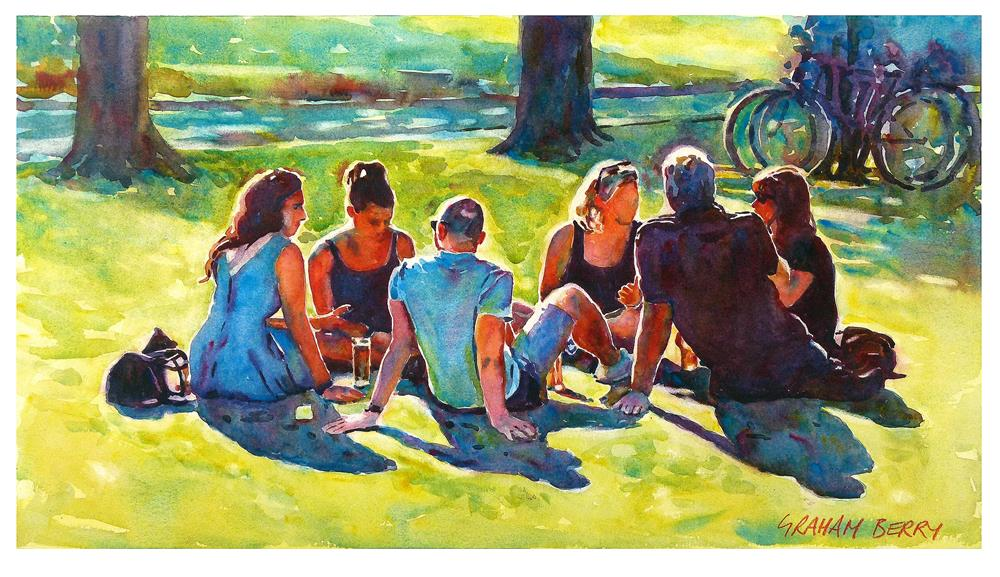 """Drinks on the green"" original fine art by Graham Berry"
