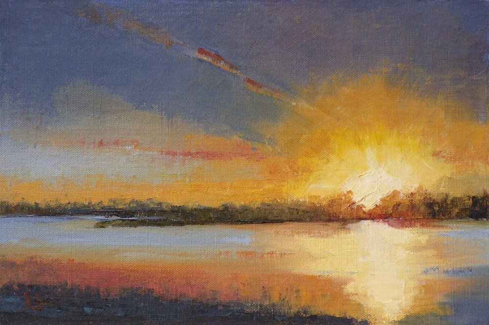 """Fire in the Sky"" original fine art by Rebecca Helton"
