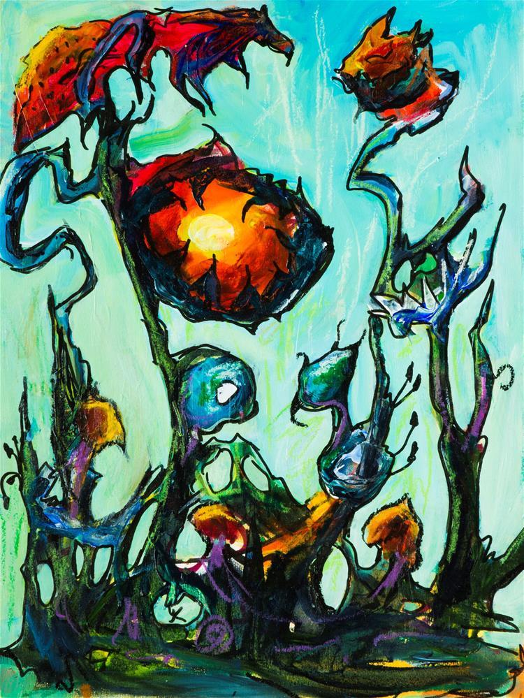 """Fantasy Flowers"" original fine art by Yulia Kazansky"