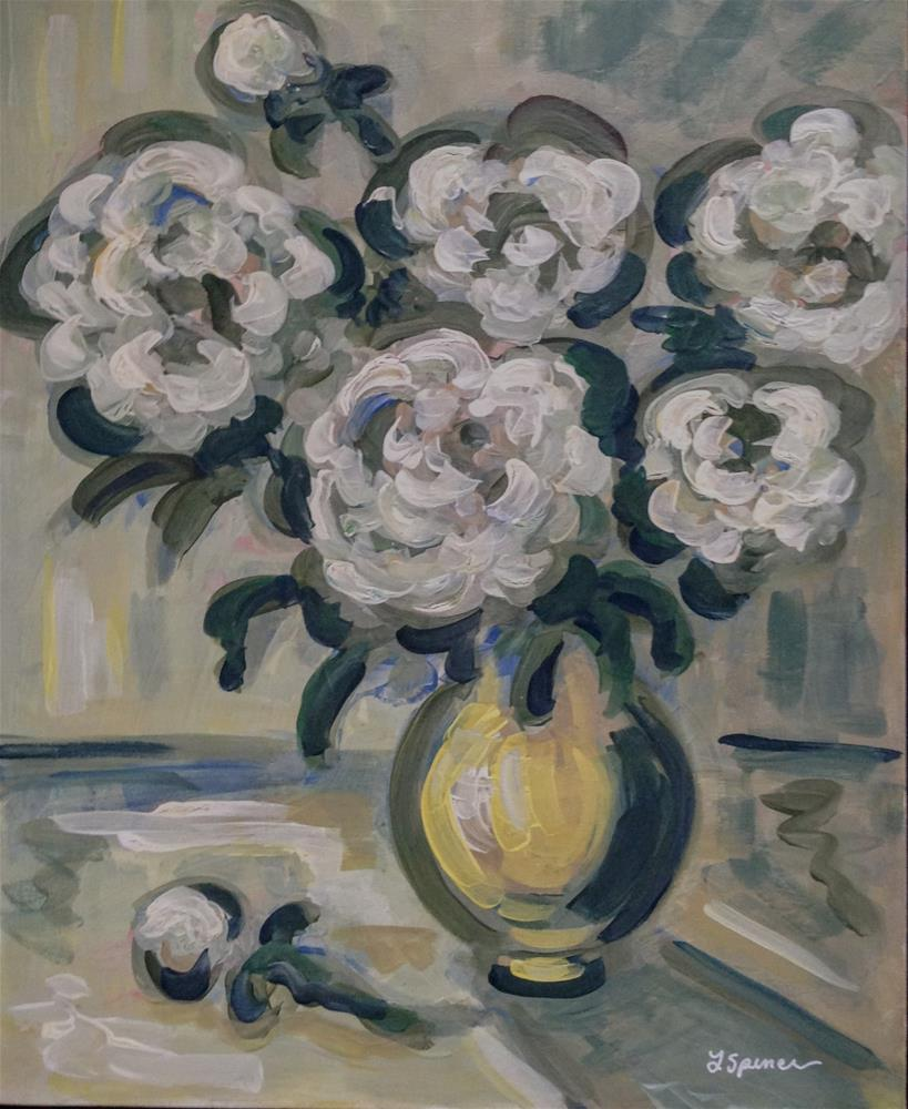 """White Peonies"" original fine art by Leslie Spencer"
