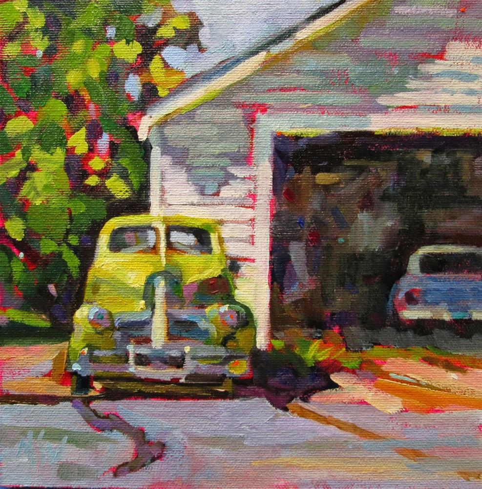 """""""Classic Oldie 8x8 oil on Pintura panel This old car is near my studio. Always wanted to paint it and love the peridot green color."""" original fine art by Mary Sheehan Winn"""