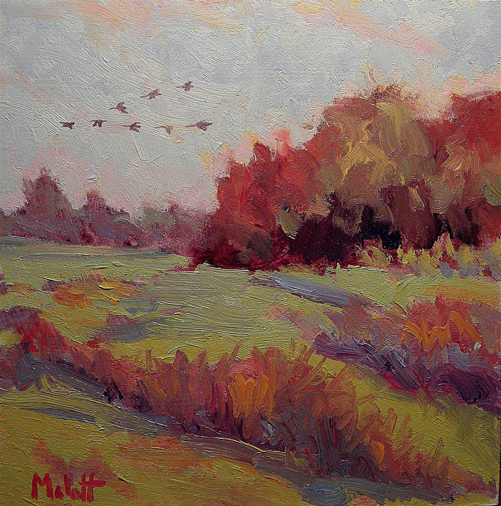 """""""Canadian Geese Fly South Autumn Landscape Revisited and Revised part of $80 sale/2008"""" original fine art by Heidi Malott"""