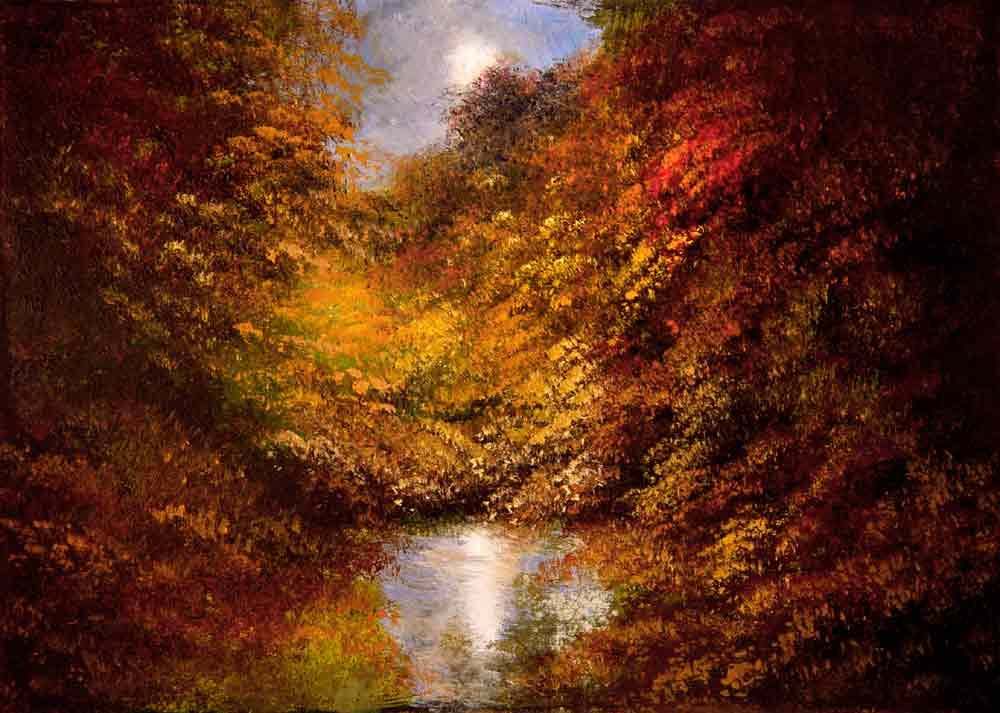 """Twilight Over the Pond"" original fine art by Bob Kimball"