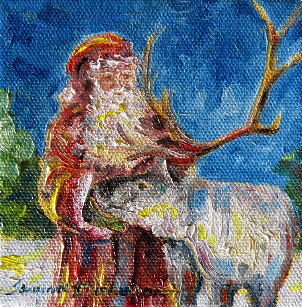 """Feeding Blitzen - miniature"" original fine art by Tammie Dickerson"
