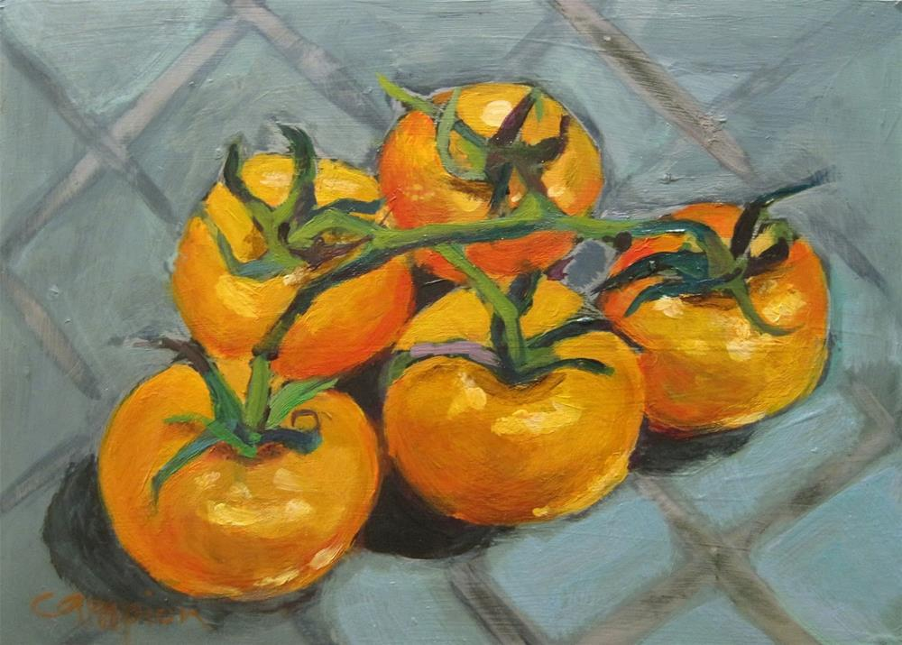 """Yellow Tomatoes"" original fine art by Diane Campion"