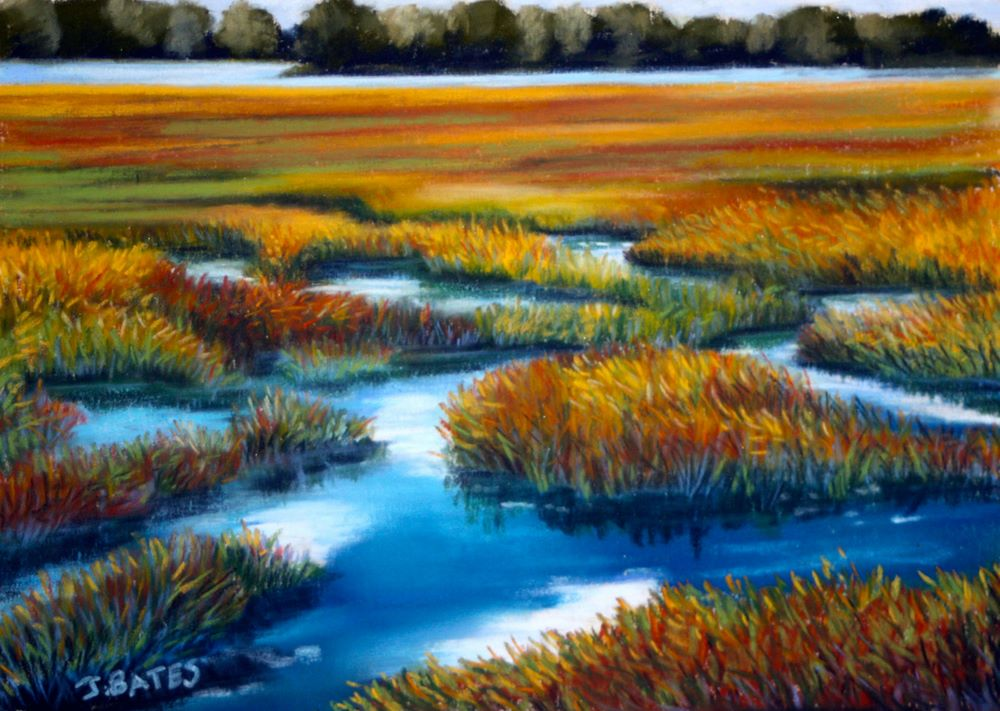 """Marsh Colour"" original fine art by Jill Bates"