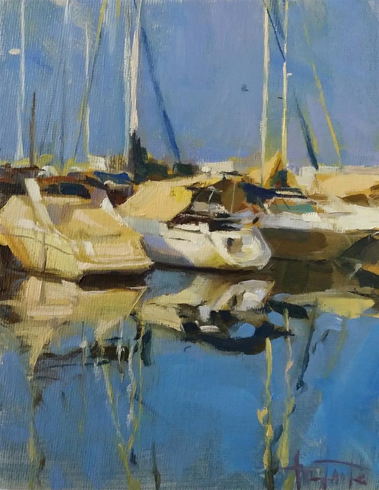 """""""First lights on harbour"""" original fine art by Víctor Tristante"""