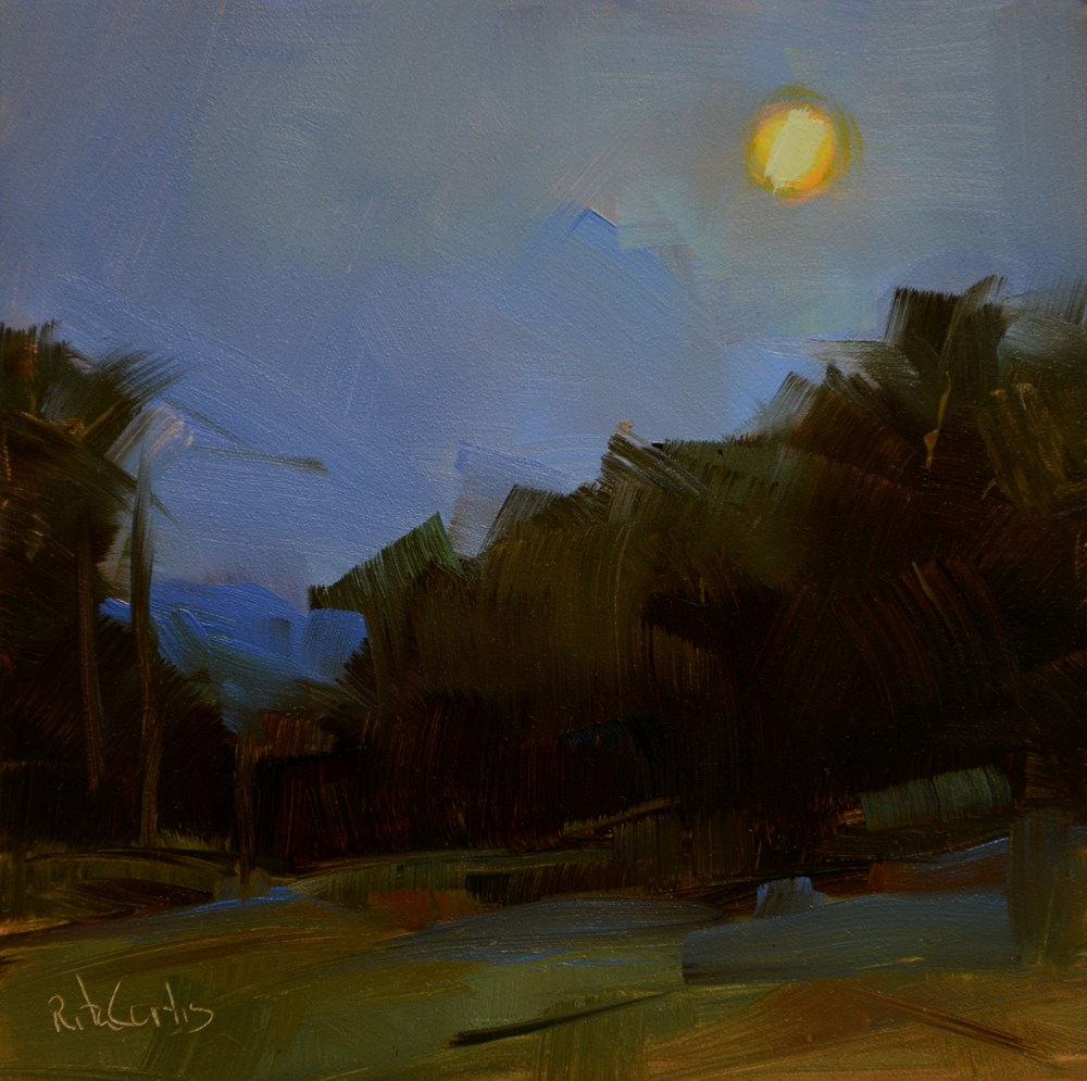 """Full Moon Rising"" original fine art by Rita Curtis"