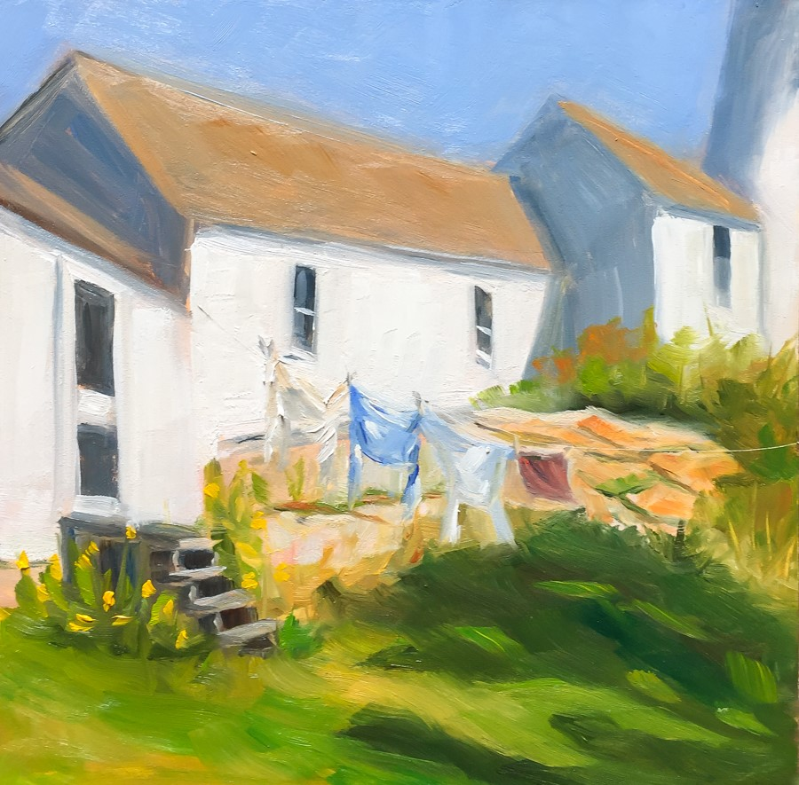 """#89 - Laundry - Burnt Island Lighthouse - Maine"" original fine art by Sara Gray"