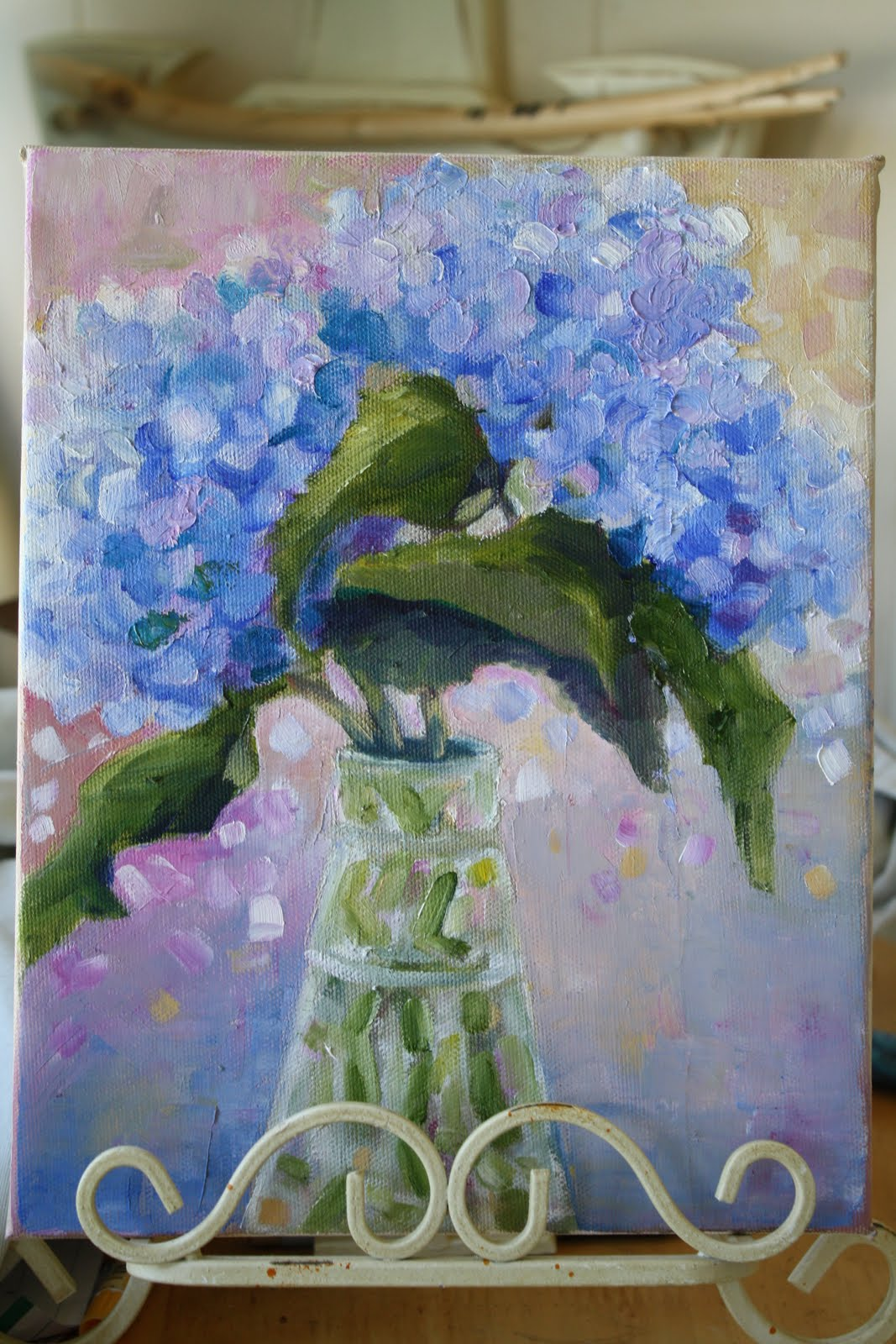 """Hydrangea Blues"" original fine art by Maggie Flatley"