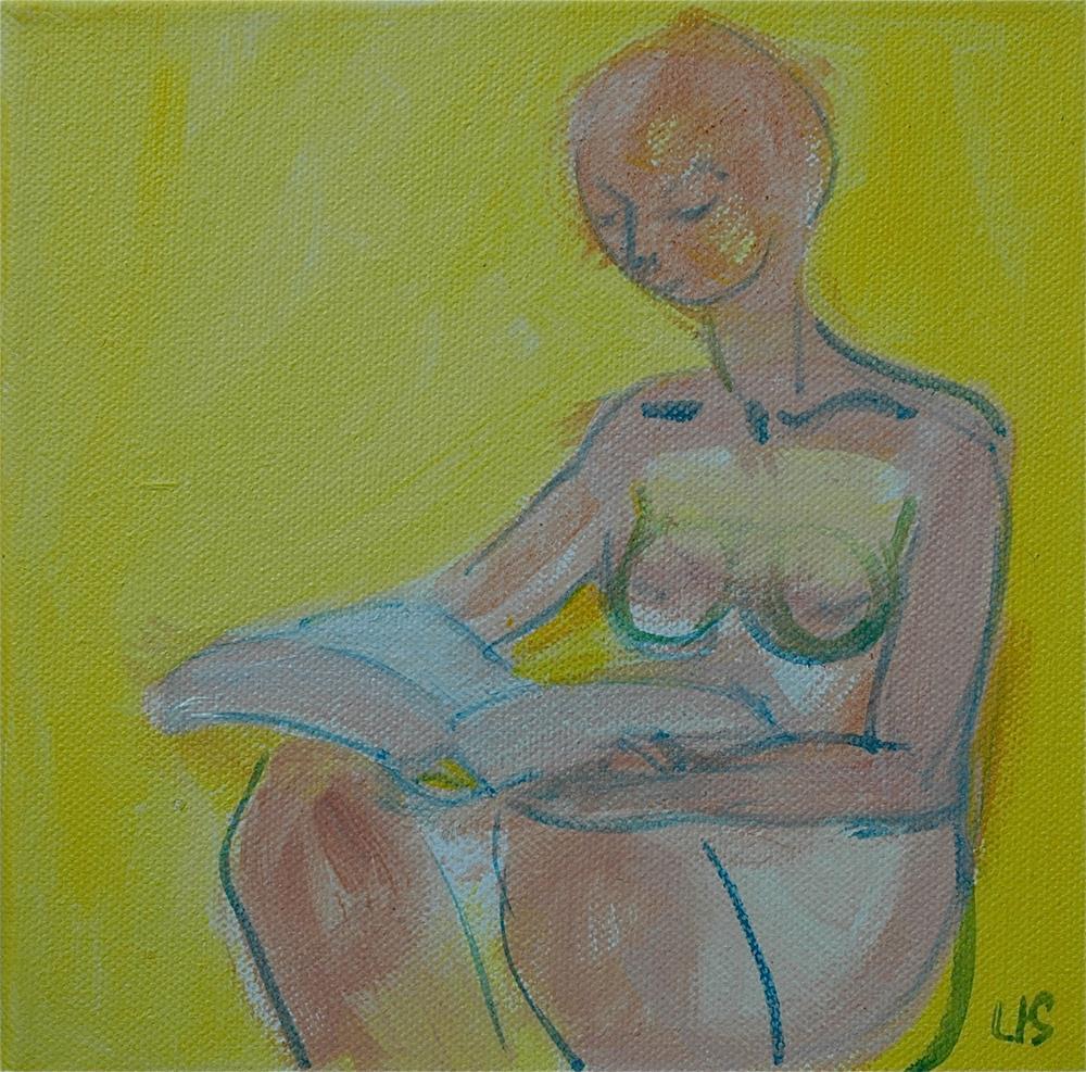 """Girl Reading, yellow background"" original fine art by Ulrike Schmidt"