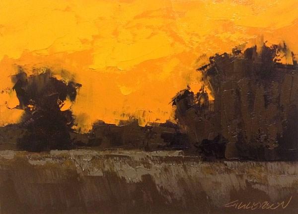 """Weston Fields, Winter Sunset"" original fine art by Mary Gilkerson"