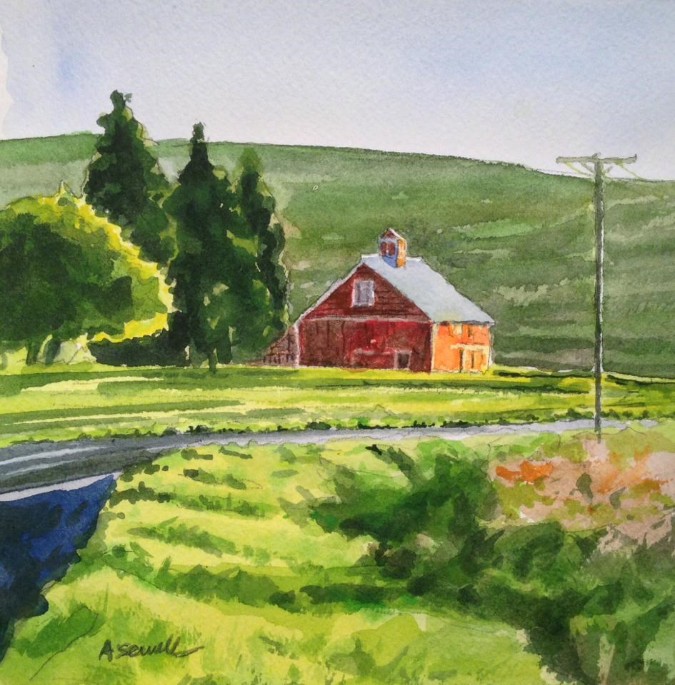 """Red Barn Road"" original fine art by Andy Sewell"