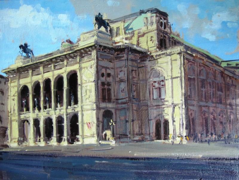 """Summerlight Opera House, Vienna"" original fine art by Adebanji Alade"