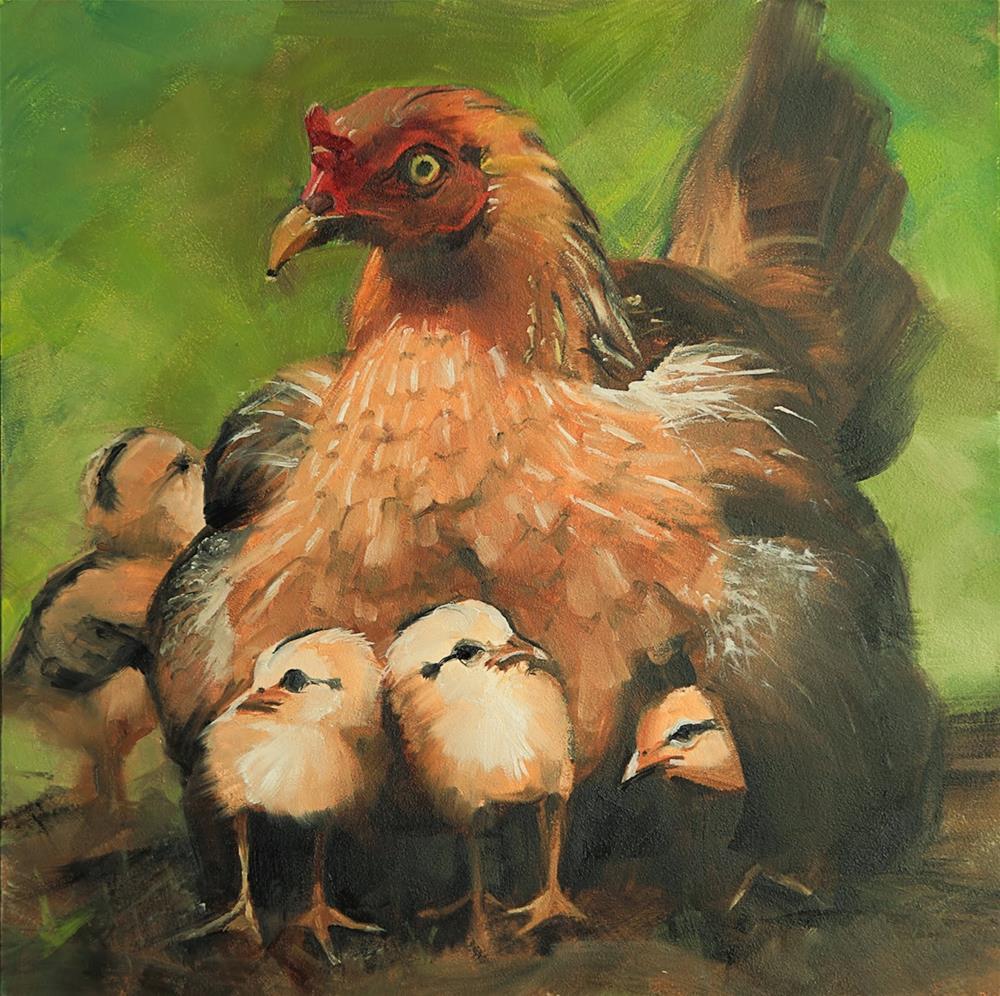 """""""Mama Hen by Beth Bathe"""" original fine art by Beth Bathe"""
