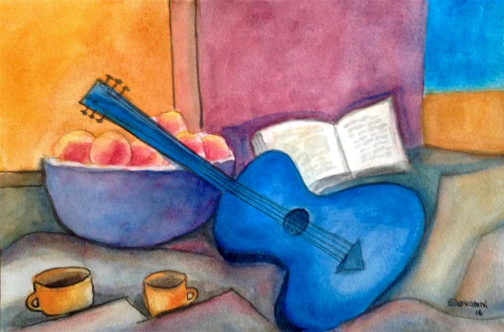 """""""Guitar, apples, book, and coffee"""" original fine art by Giovanni Antunez"""