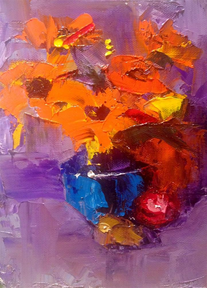 """Blue Glass and Sunflowers, 6x8"" original fine art by Ann Feldman"