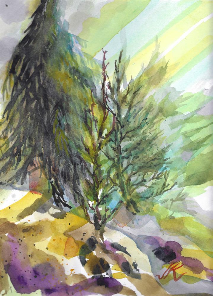 """Three Trees"" original fine art by Jean Krueger"