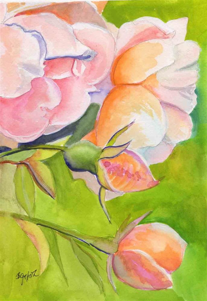 """Peach Roses"" original fine art by Bunny Griffeth"