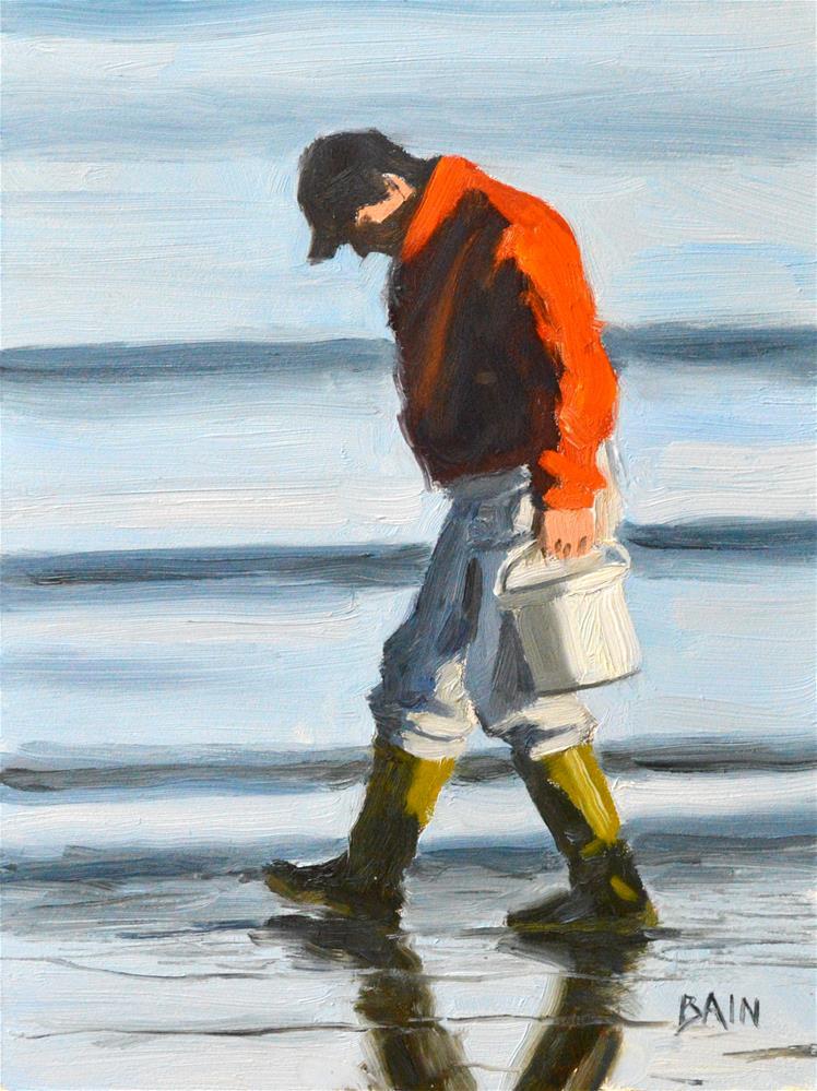 """Winter Clamhunter"" original fine art by Peter Bain"