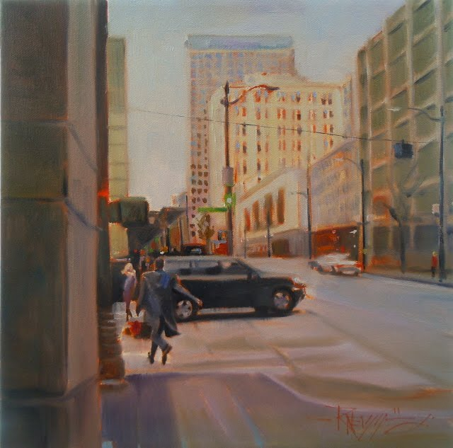 """The Rendezvous  Seattle city scenes, oil cityscape painting"" original fine art by Robin Weiss"