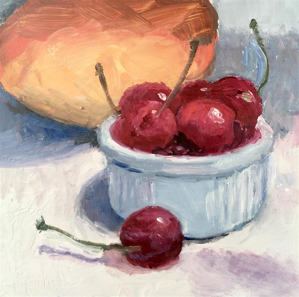 """""""043 Cherries And Mango, Daily Painting Ritual, 6x6, free shipping"""" original fine art by Fred Bell"""