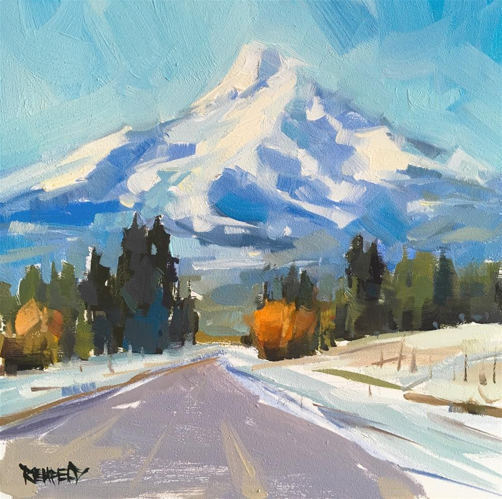 """Winter Drive To Mount Hood"" original fine art by Cathleen Rehfeld"