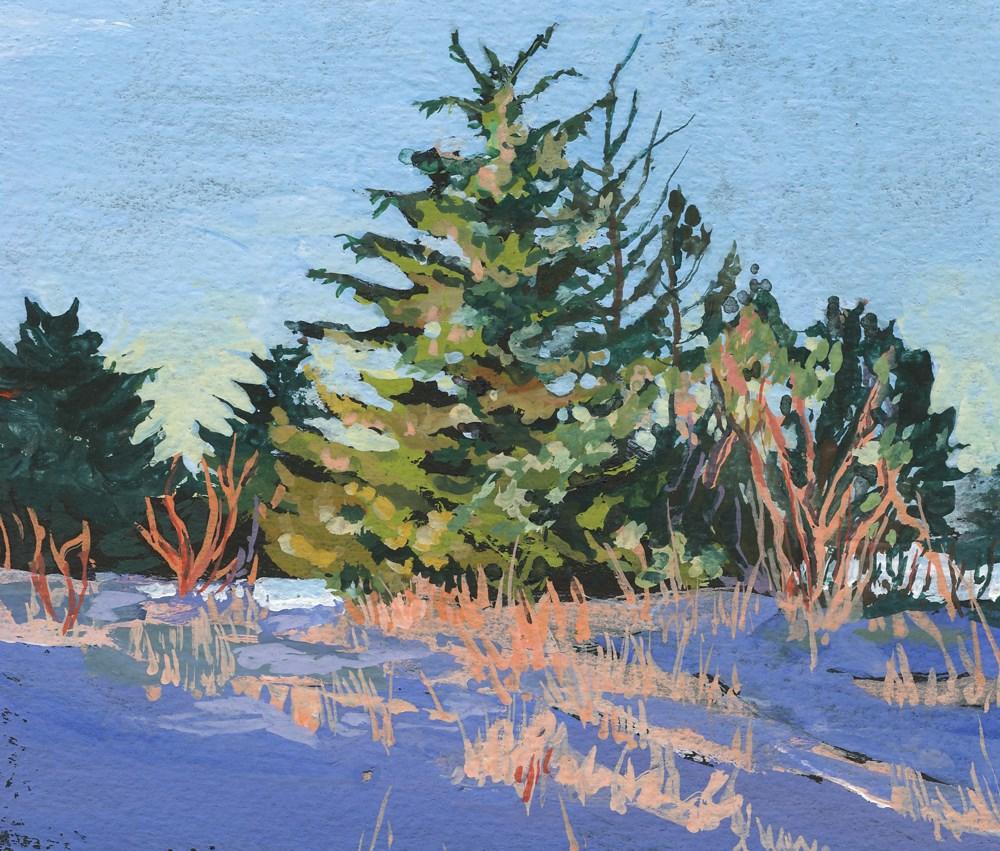 """""""Beach Trees in Winter"""" original fine art by Carole Baker"""