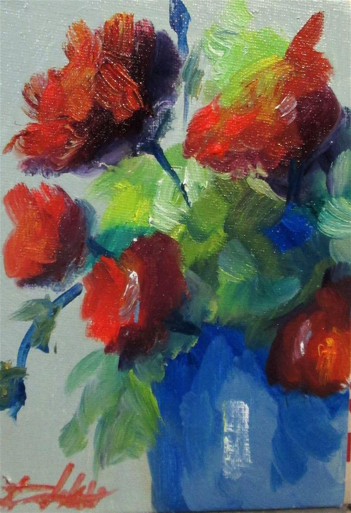 """Red Flower"" original fine art by Delilah Smith"