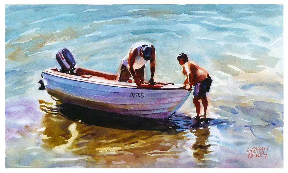"""Pushing the boat out."" original fine art by Graham Berry"