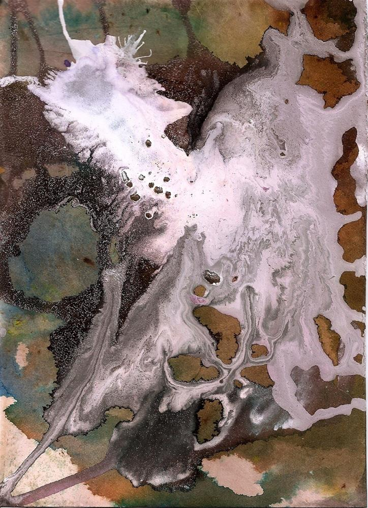 """""""5x7 Abstract, Monsters Mashed Mixed Media Marbling by Penny StewArt"""" original fine art by Penny Lee StewArt"""