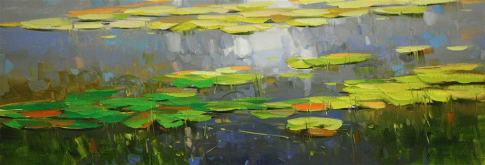 """""""Water Lilies pond Original oil Painting One of a Kind"""" original fine art by V Y"""