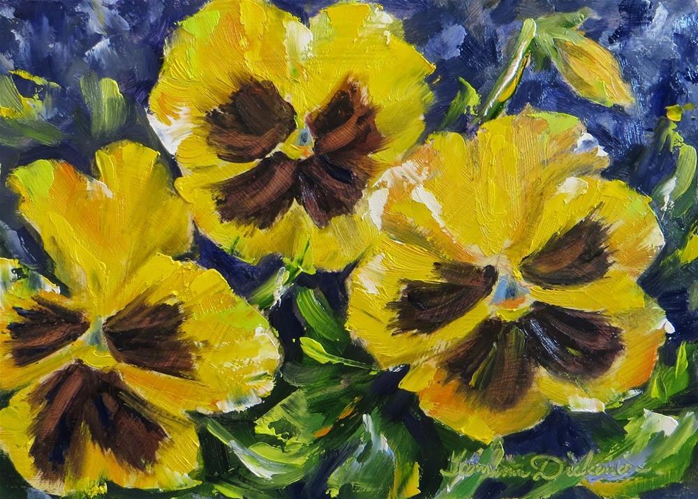 """Yellow Pansies"" original fine art by Tammie Dickerson"