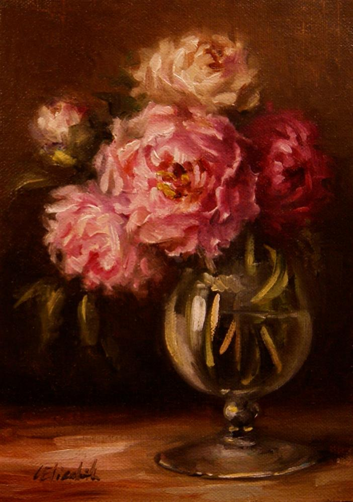 """Pink Peonies in Glass Vase,  Oil on 5x7 Linen Panel"" original fine art by Carolina Elizabeth"
