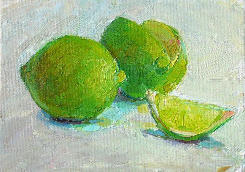 """Limes together,still life oil on canvas,5x7,price$175"" original fine art by Joy Olney"