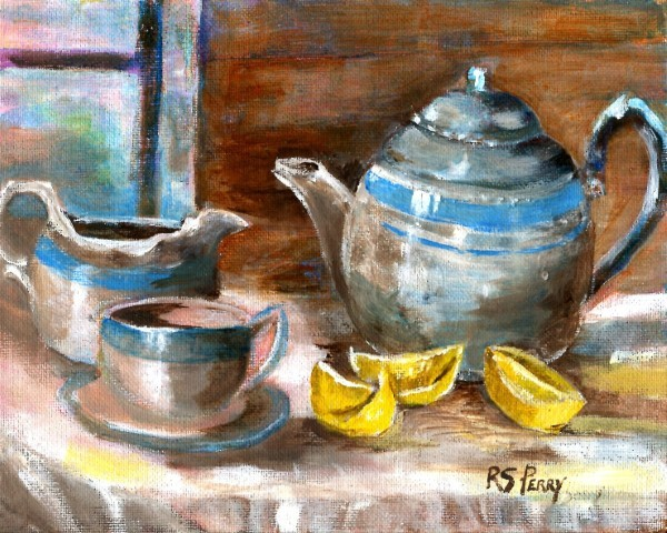 """Pitchers and lemons, unframed."" original fine art by R. S. Perry"