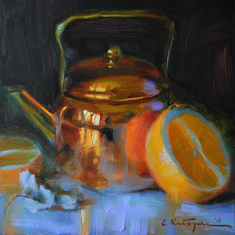 """Copper and Orange"" original fine art by Elena Katsyura"