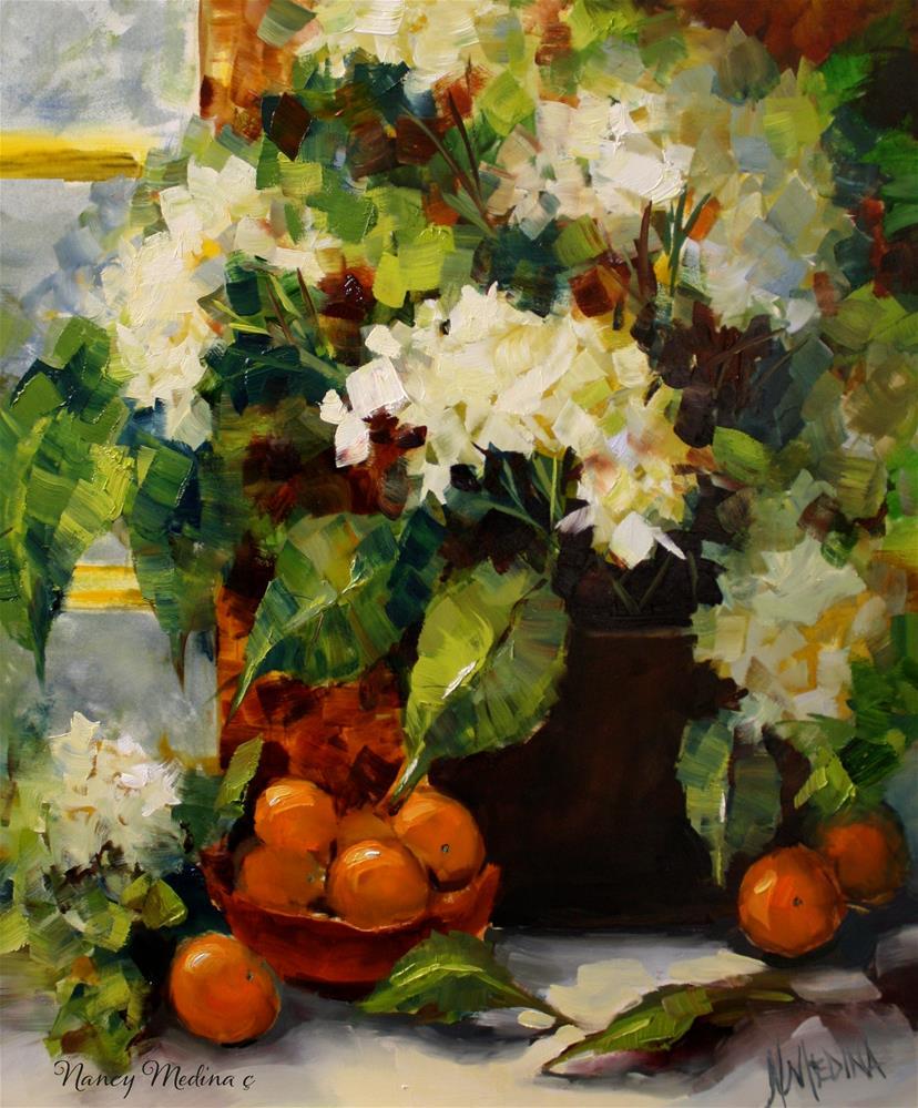 """Breakfast Nook Hydrangeas and the Big Color Reveal Is Coming"" original fine art by Nancy Medina"