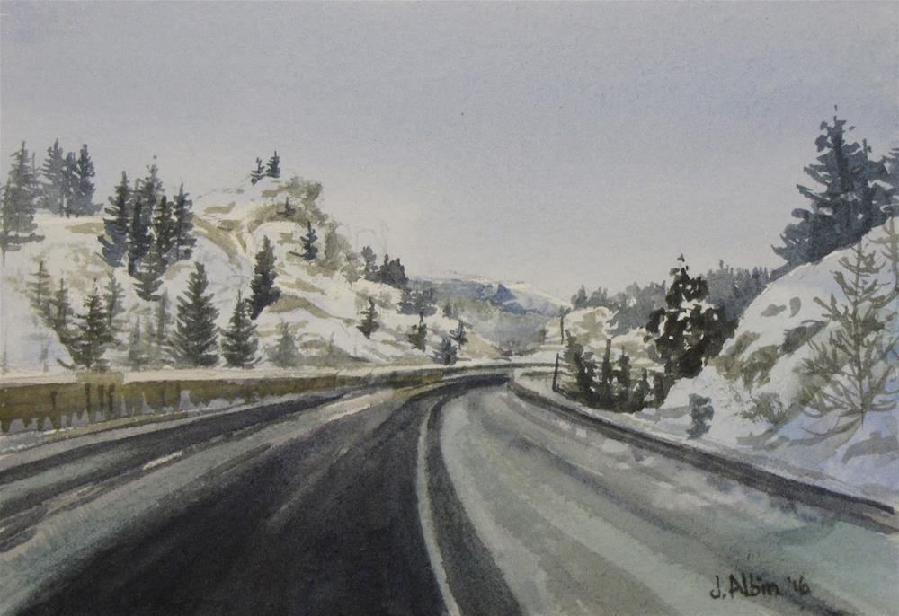 """Snowy Montana Highway"" original fine art by Jane Albin"