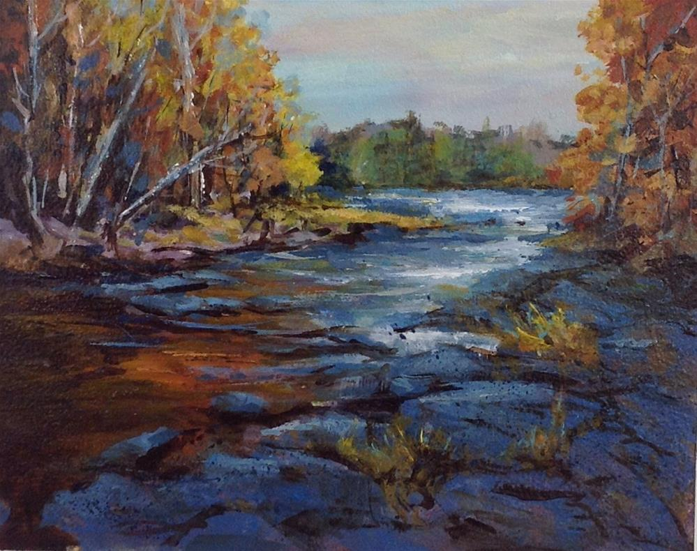 """Original acrylic landscape creek river stream midwest painting"" original fine art by Alice Harpel"