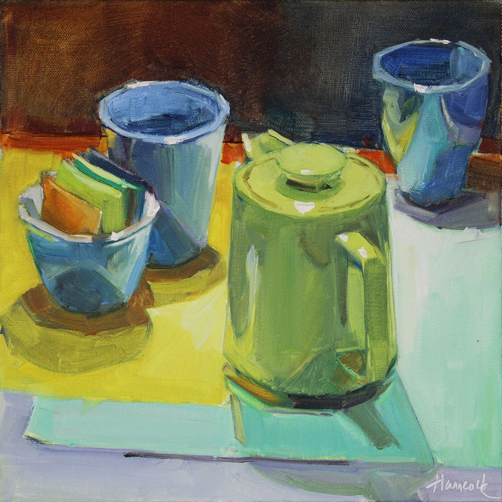 """Green Coffeepot and Blue Cups"" original fine art by Gretchen Hancock"