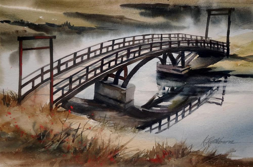 """Crossing Over the Bridge"" original fine art by Kathy Los-Rathburn"