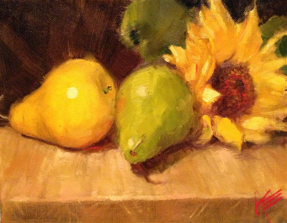 """""""Sunflower and pears"""" original fine art by Krista Eaton"""