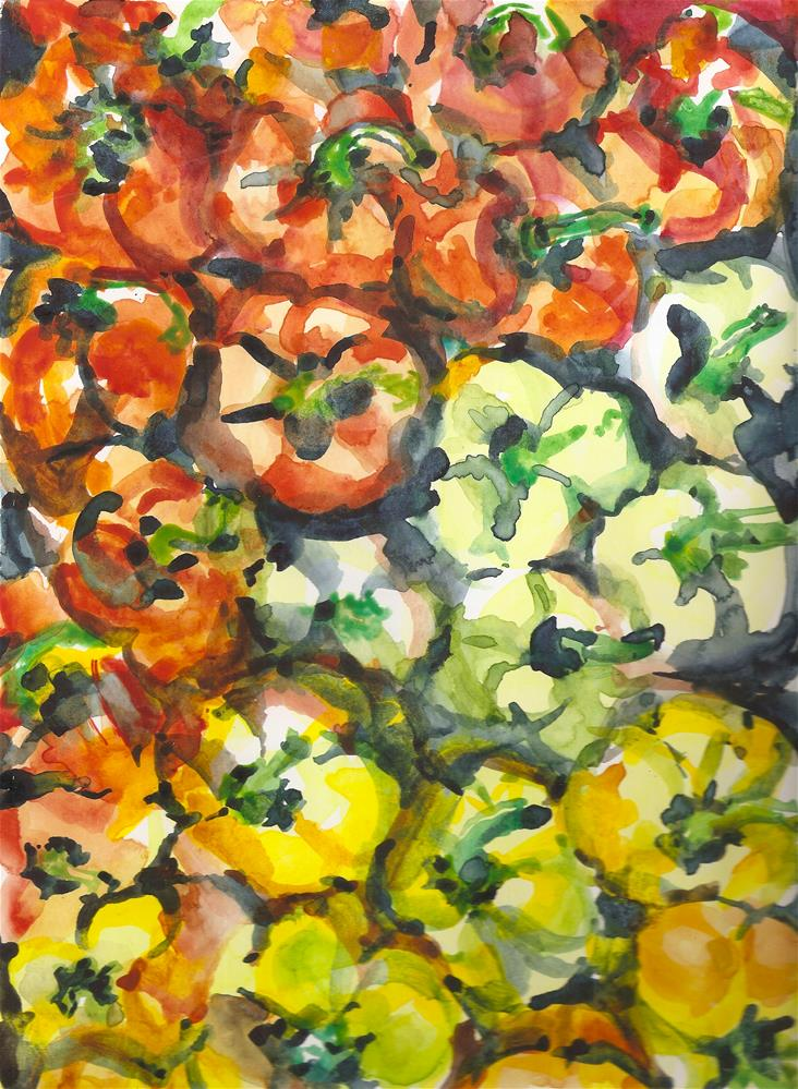 """""""Peppers, Red, Green and Yellow"""" original fine art by Jean Krueger"""