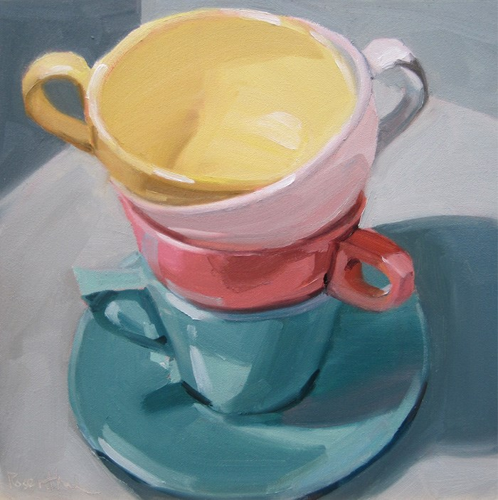"""Stacked Colored Cups II"" original fine art by Robin Rosenthal"
